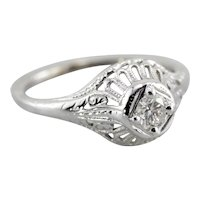 Lovely Diamond Filigree Engagement Ring, Art Deco Filigree Setting