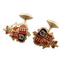 Antique Enamel Crest and Fine 18 Karat Gold Victorian Cufflinks