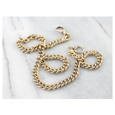 Antique 14 Karat Gold Curb Chain with Dog Clip Clasp