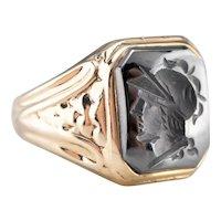 Unisex Vintage Hematite Intaglio Ring