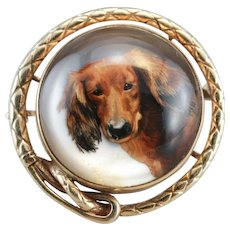 Antique Long Haired Dachshund Glass Brooch