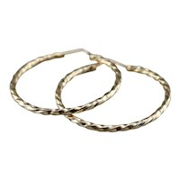 Vintage Rope Twist Hoop Earrings