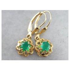 Green Onyx Drop Filigree Earrings