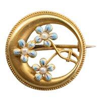 Art Nouveau Forget-Me-Not Honeymoon Pin