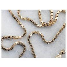 Vintage Italian 14 Karat Gold Box Chain