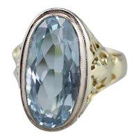 Art Nouveau Blue Topaz Solitaire Ring