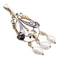 Art Nouveau Blue Enamel Freshwater Pearl Pendant