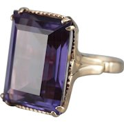 Large Synthetic Alexandrite Cocktail Ring