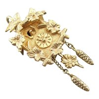 Vintage Cuckoo Clock, Solid 14K Yellow Gold, Intricate Details