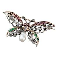 Art Nouveau Gemstone Butterfly Brooch