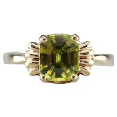 Upcycled Retro Era Sphene Solitaire Ring