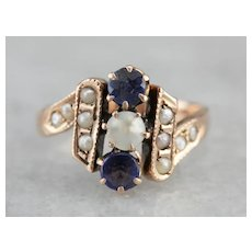 Victorian Sapphire Doublet and Cultured Seed Pearl Dinner Ring
