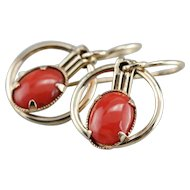 Retro Era Coral Drop Earrings