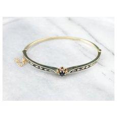 Sapphire Enamel Bangle Bracelet