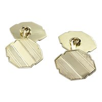 Etched Cufflinks in 14K Yellow Gold, Beautiful Art Deco Menswear with an Architectural Style