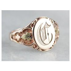 "Antique Old English ""C"" Signet Ring"