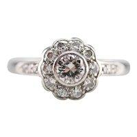 Pretty Floral Diamond Halo Ring