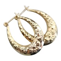 Vintage 14 Karat Gold Tapered Floral Hoop Earrings