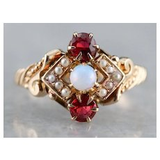 Victorian Opal Ruby Doublet Dinner Ring