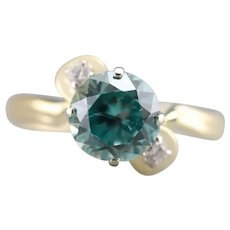 Upcycled Blue Zircon and Diamond Ring