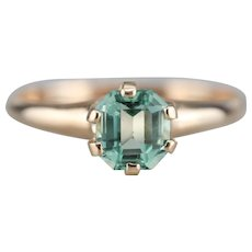 Mint Green Emerald Solitaire Ring