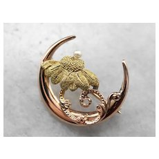 Art Nouveau Botanical Seed Pearl Crescent Moon Brooch