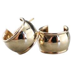 Wide 14 Karat Gold Hoop Earrings