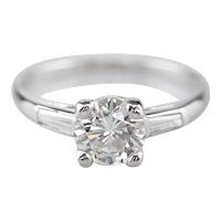 Retro Era Diamond Engagement Ring with Diamond Shoulders