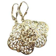 Ornate Floral Filigree Drop Earrings