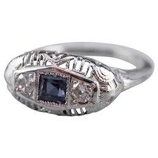 Art Deco Synthetic Sapphire Diamond Ring