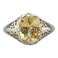 Art Deco Yellow Sapphire Solitaire Ring