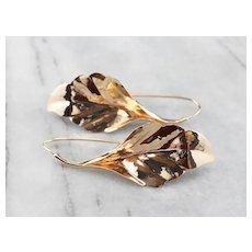 Large 14 Karat Gold Leaf Drop Earrings