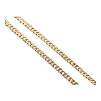 Long 18 Karat Yellow Gold Curb Chain Necklace