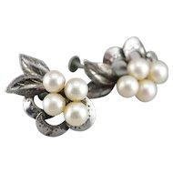 Vintage Cultured Pearl Screw Back Earrings