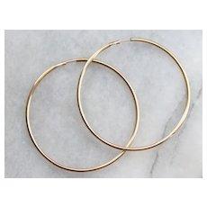 Vintage 10 Karat Gold Large Hoop Earrings