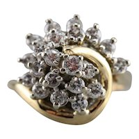 Vintage 1970s Diamond Cluster Ring