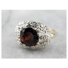 Forget Me Not Retro Era Garnet Ring