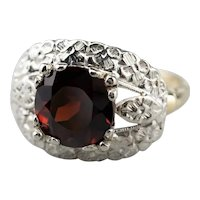 Forget Me Not Retro Era Garnet Ring