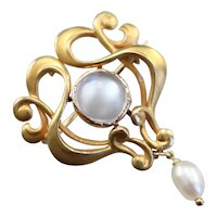 Art Nouveau Moonstone and Freshwater Pearl Brooch