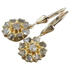 Upcycled Rose Cut Diamond Drop Earrings