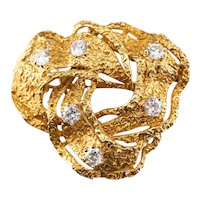 Diamond Textured High Karat Knot Brooch or Pendant