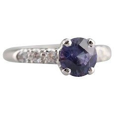 Purple Sapphire Diamond Engagement Ring