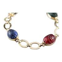 Carved Glass Retro Era Link Bracelet