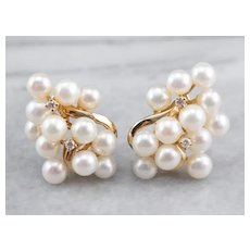Cluster Cultured Pearl and Diamond Stud Earrings
