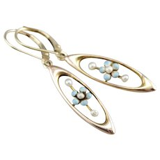 Upcycled Cultured Seed Pearl Forget-Me-Not Floral Drop Earrings