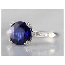 Round Cut Sapphire Diamond Engagement Ring