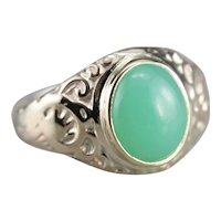 Upcycled Chrysoprase Cabochon Ring