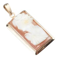 Vintage Small Rectangle Cameo Pendant