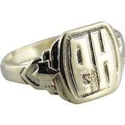 Amazing PH Monogrammed Retro Era Signet Ring
