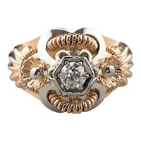 Bold Retro Era Transition Cut Diamond Ring